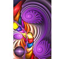 Purple Spirals, abstract fractal artwork Photographic Print