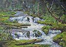 "Original Acrylic ""Forest Creek"" Landscape Painting by Karen Ilari"