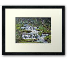 "Original Acrylic ""Forest Creek"" Landscape Painting Framed Print"