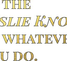 Be the Leslie Knope of whatever you do. by Laura S
