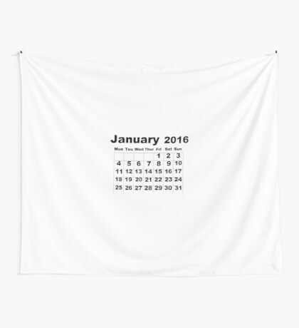 January Calendar 2016 Wall Tapestry