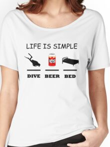 Life Is Simple Dive Beer Bed Black Women's Relaxed Fit T-Shirt