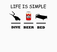 Life Is Simple Dive Beer Bed Black T-Shirt