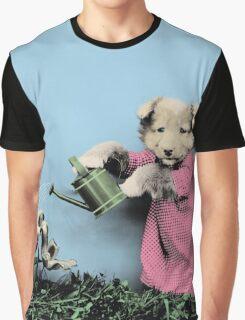 Cute Dog Watering Garden Graphic T-Shirt