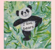 'I Love Bears' with Panda bear One Piece - Long Sleeve