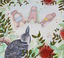 Meditation bears with kookaburra by Monica Batiste