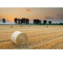 Hay bales at Sunset 3 Photographic Print