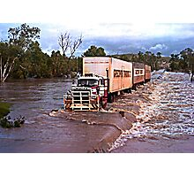 Truck crossing Ord River in flood Photographic Print