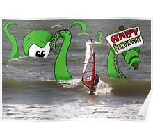 Wind Surfer Birthday Card Poster