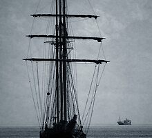 Tall Ship Becalmed by Wrayzo