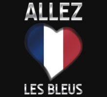 Allez Les Bleus - French Flag Heart & Text - Metallic by graphix