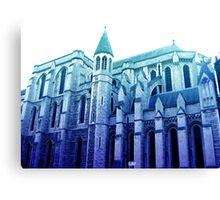 london church, in blue Canvas Print