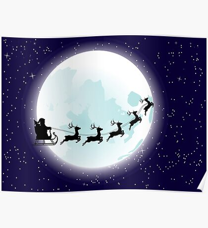 Flying Santa and Full Moon Poster