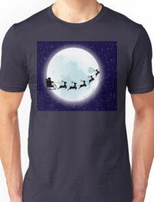 Flying Santa and Full Moon Unisex T-Shirt