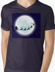 Flying Santa and Full Moon Mens V-Neck T-Shirt