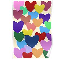 Multi coloured hearts Poster
