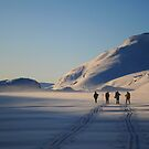 Kaldavass - Skiers in January sunrise by Algot Kristoffer Peterson