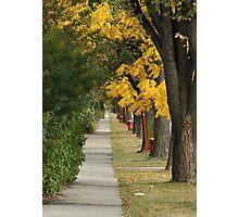 Transcona Sidewalk in Fall Photographic Print