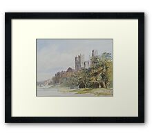 Watercolour of Durham Cathedral, 19th century Framed Print