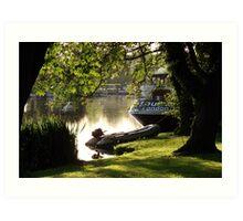 Peaceful Riverside Shadows. Art Print