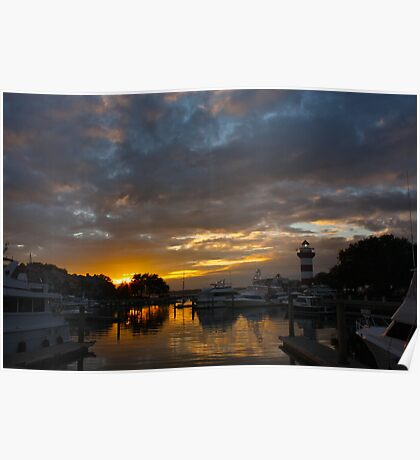 Sunset in Harbor Town Poster