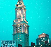 Boston City Skyline at Night by Elizabeth Thomas