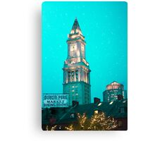 Boston City Skyline at Night Canvas Print