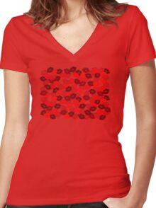 Rose Petal Lips Women's Fitted V-Neck T-Shirt