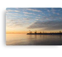 Early Morning Zen - Meditating on the Waterfront at Sunrise Canvas Print