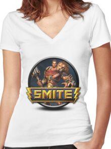Smite Hercules Logo Women's Fitted V-Neck T-Shirt