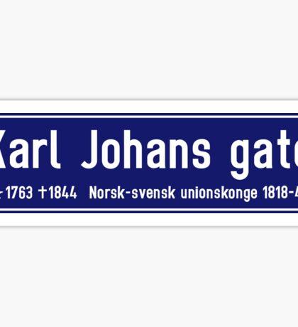 Karl Johans gate, Street Sign, Oslo, Norway Sticker