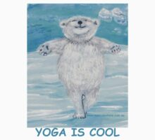 'Yoga is Cool' Yoga Bear in 'Icy Pole Pose' (tree pose) by Monica Batiste