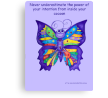 Yoga Butterfly in Namaste (purple background inspirational text) Canvas Print