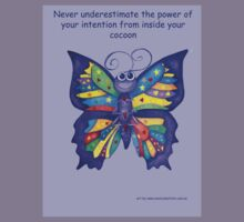 Yoga Butterfly in Namaste (purple background inspirational text) Kids Tee