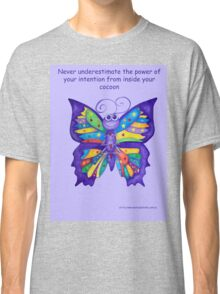 Yoga Butterfly in Namaste (purple background inspirational text) Classic T-Shirt