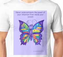 Yoga Butterfly in Namaste (purple background inspirational text) Unisex T-Shirt