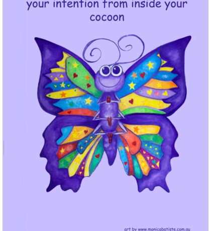 Yoga Butterfly in Namaste (purple background inspirational text) Sticker
