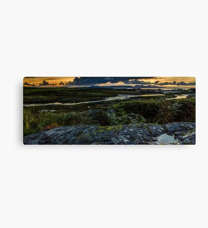 Panoramic View of the Isle's of Eigg & Rum from Arisaig, Scotland Canvas Print
