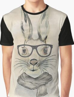 Cute funny watercolor bunny with glasses and scarf hand paint Graphic T-Shirt