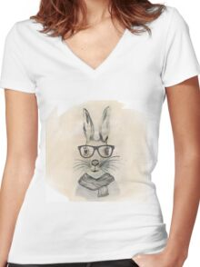 Cute funny watercolor bunny with glasses and scarf hand paint Women's Fitted V-Neck T-Shirt