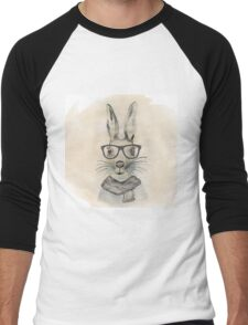 Cute funny watercolor bunny with glasses and scarf hand paint Men's Baseball ¾ T-Shirt