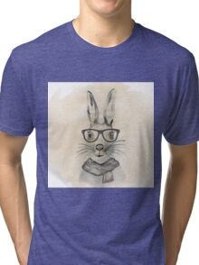 Cute funny watercolor bunny with glasses and scarf hand paint Tri-blend T-Shirt