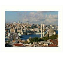 Galata Bridge and Yeni Mosque in Istanbul Art Print