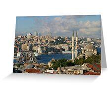 Galata Bridge and Yeni Mosque in Istanbul Greeting Card