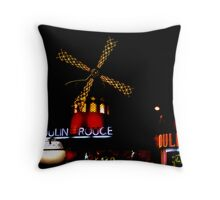 Moulin by night Throw Pillow