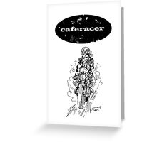 Black and white caferacer motorbike (1) Greeting Card