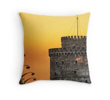 The White Tower on Fire Throw Pillow