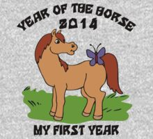 Born Year of The Horse Baby 2014 One Piece - Long Sleeve