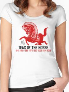 Year of The Horse Paper Cut - Chinese Zodiac Horse Women's Fitted Scoop T-Shirt