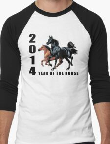 2014 Year of The Horse T-Shirts Gifts Prints Men's Baseball ¾ T-Shirt